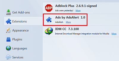 remove ads by ads alert from firefox