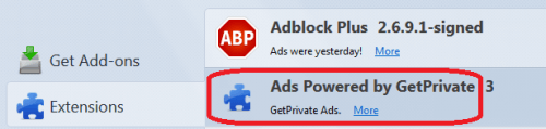 ads powered by getprivate firefox