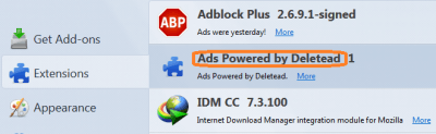 "Remove ""Ads Powered by Deletead"""