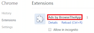 Remove Ads by BrowseTheApp from Chrome
