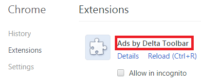 Remove Ads by Delta Toolbar From Chrome