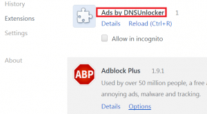 Remove Ads by DNSUnlocker from Chrome