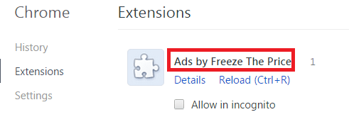 Remove Ads by Freeze The Price from Chrome