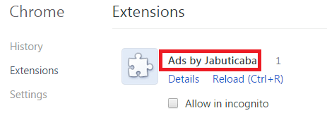 Remove Ads by Jabuticaba From Chrome