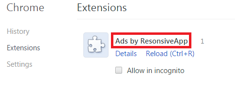Remove Ads by ResonsiveApp from Chrome