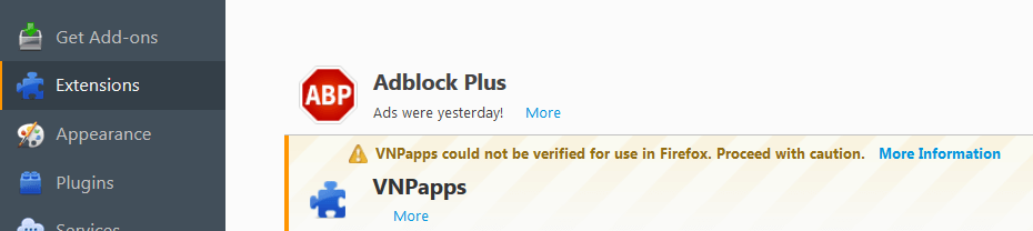 Remove Ads by VNPapps From Firefox