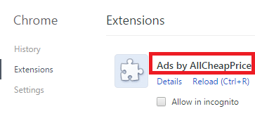 Remove Ads by AllCheapPrice From Chrome