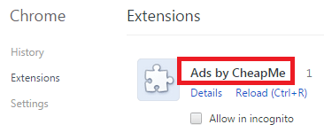 Remove Ads by CheapMe From Chrome
