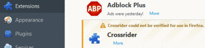 Remove Adware Crossrider Virus From Firefox
