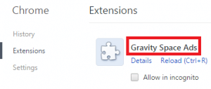 Remove Gravity Space Ads From Chrome