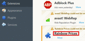 Remove Rainbow Prices Ads From Firefox