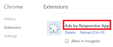 Remove Ads by Responsive App From Chrome