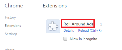 Remove Roll Around Ads From Chrome