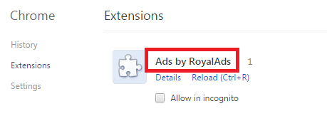 Remove Ads by RoyalAds From Chrome