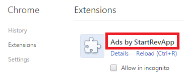 Remove Ads by StartRevApp From Chrome
