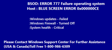 BSOD Error 777 Failure Operating System