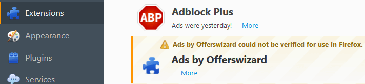 Remove Ads by Offerswizard From Firefox