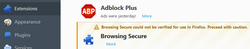 Remove Browsing Secure From Firefox
