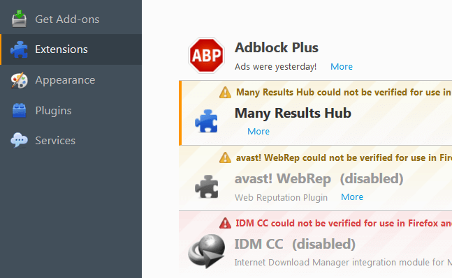 Remove Many Results Hub Ads Firefox