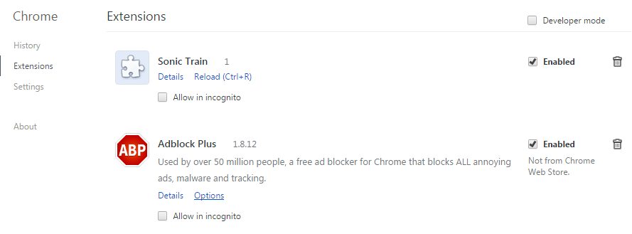 Remove Sonic Train Ads From Chrome