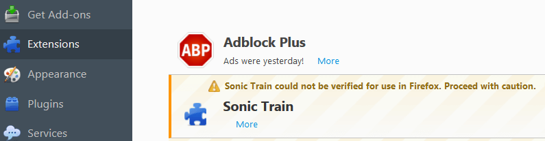 Remove Sonic Train Ads From Firefox