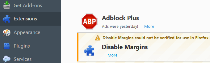 Uninstall Disable Margin Virus firefox