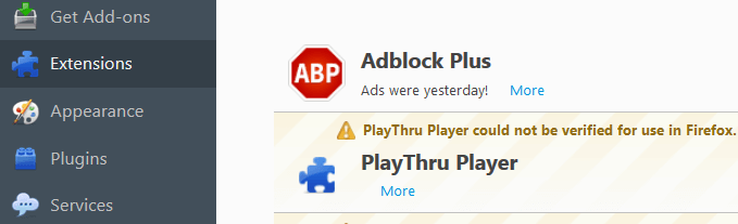 Uninstall PlayThru Player Adware firefox