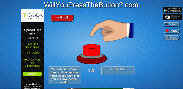 WillYouPressTheButton .com Virus