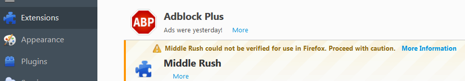 Middle Rush Ads Virus in Firefox