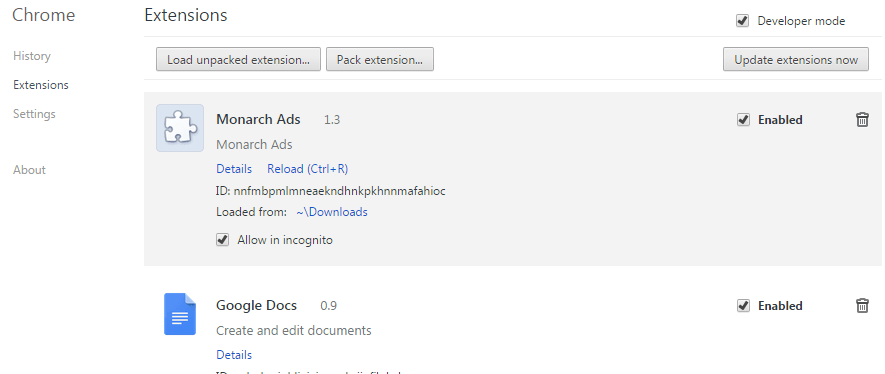 Remove Monarch Find ads from Chrome