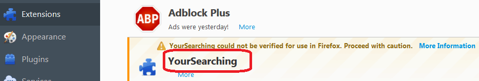 Yoursearching in Firefox