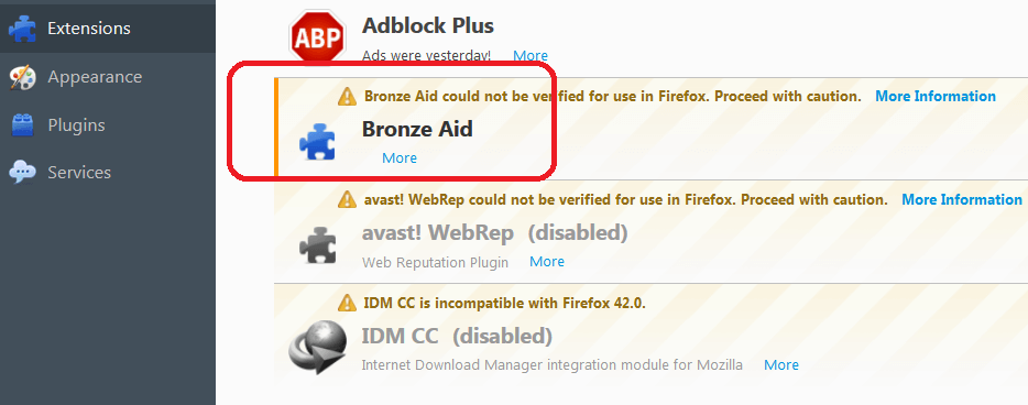 bronze aid ads in firefox