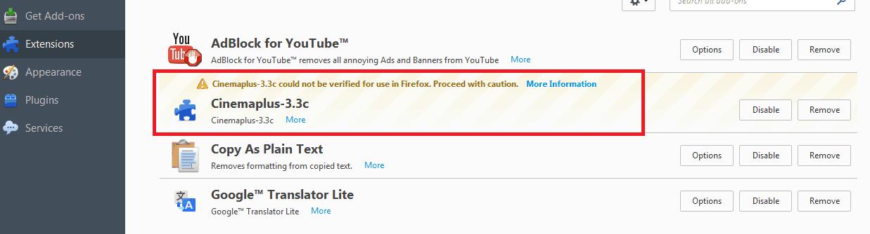 delete cinemaplus 3.3c firefox