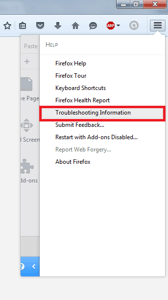 Firefox Troubleshooting Information