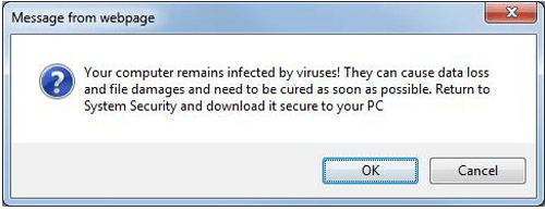 Message From Webpage False Virus Popup