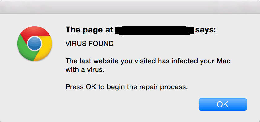 Apple Security Warning Alert Virus on Mac