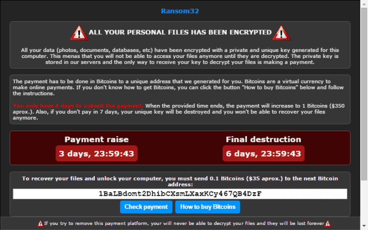 Ransom32 – the first Ransomware in JavaScript