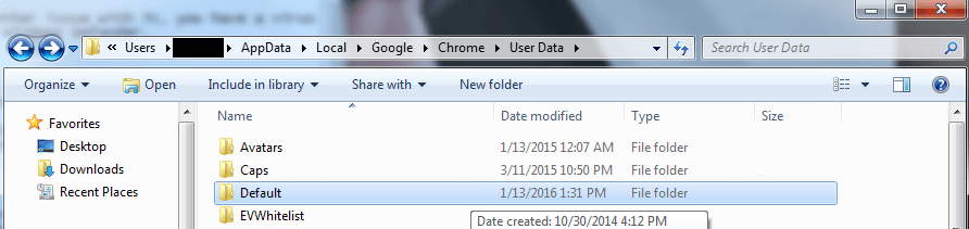 Rename the Folder to Backup Default