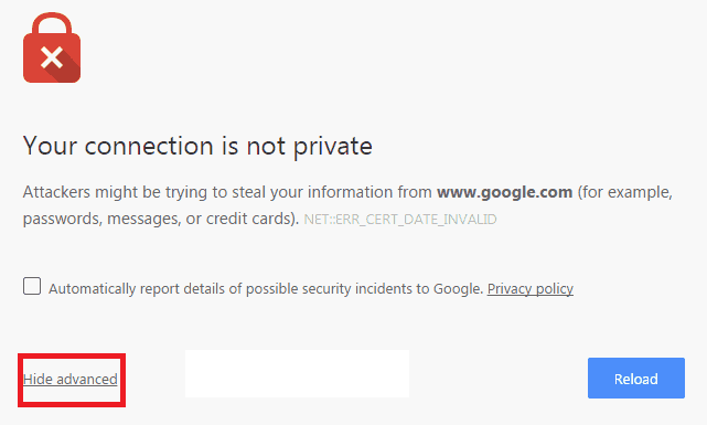 Fix Your Connection Is Not Private in Google Chrome