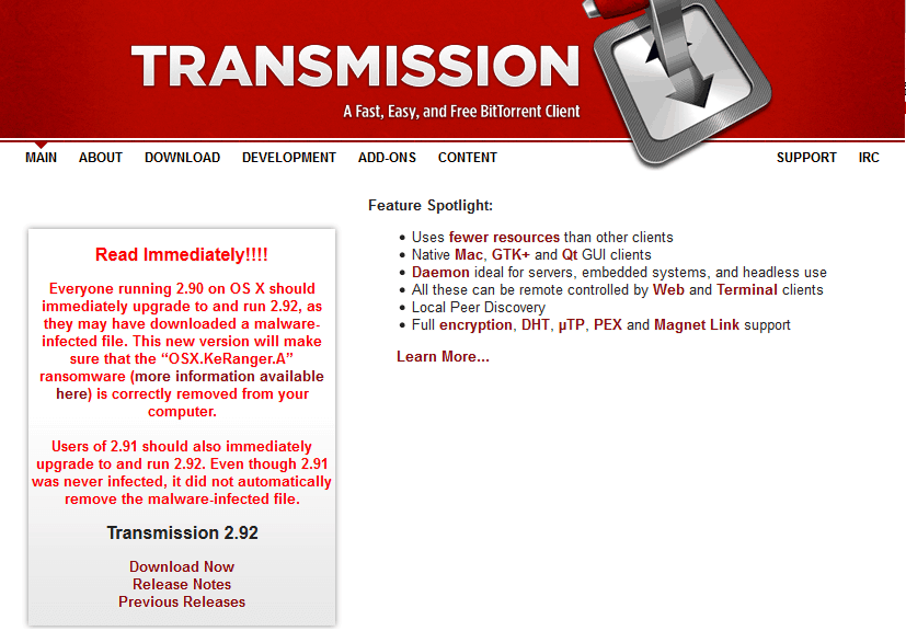 Transmission Torrent Ransomeware