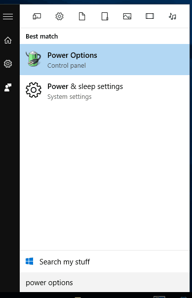 power options search