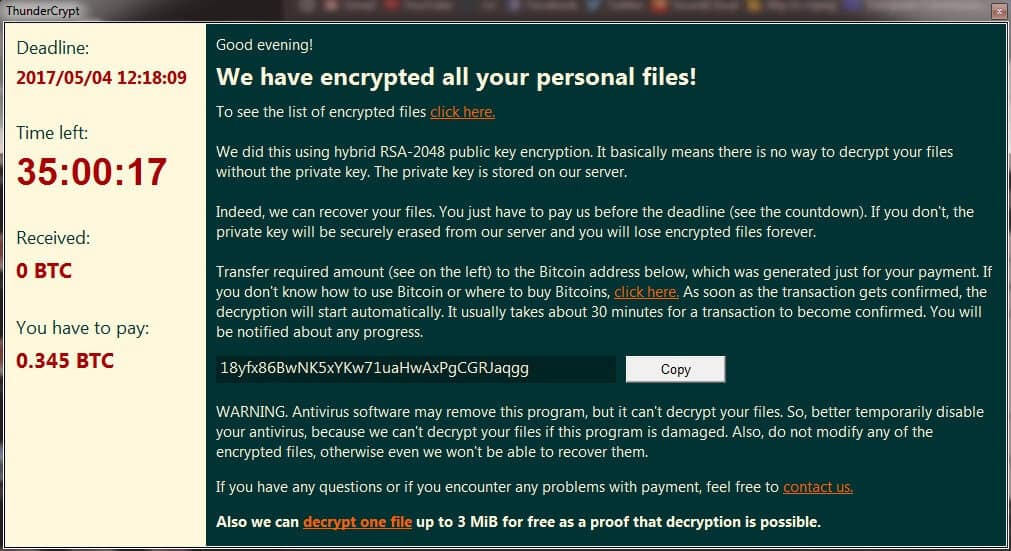 ThunderCrypt Virus File Ransomware Removal (+File Recovery)