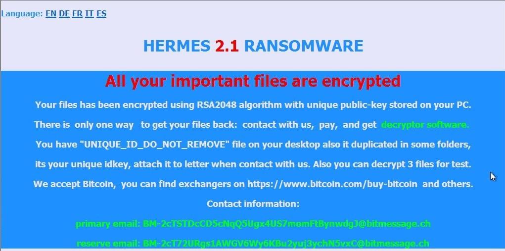 Hermes 2.1 Ransomware