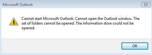 "How to fix the ""The set of folders cannot be opened"" Outlook error"