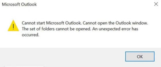 """How to fix the """"The set of folders cannot be opened"""" Outlook"""