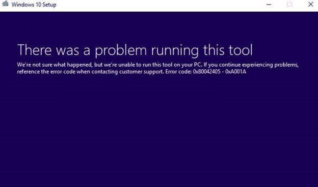 Error Code 0x80042405-0xa001a Fix