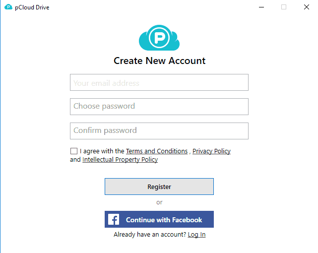 Create pCloud account