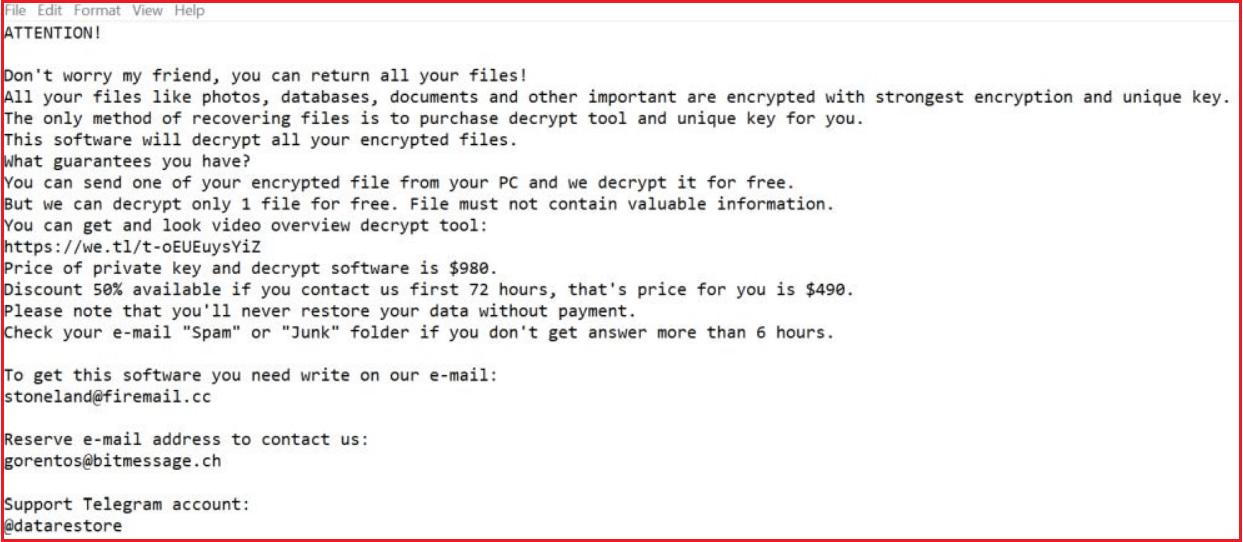 Boston Ransomware Note
