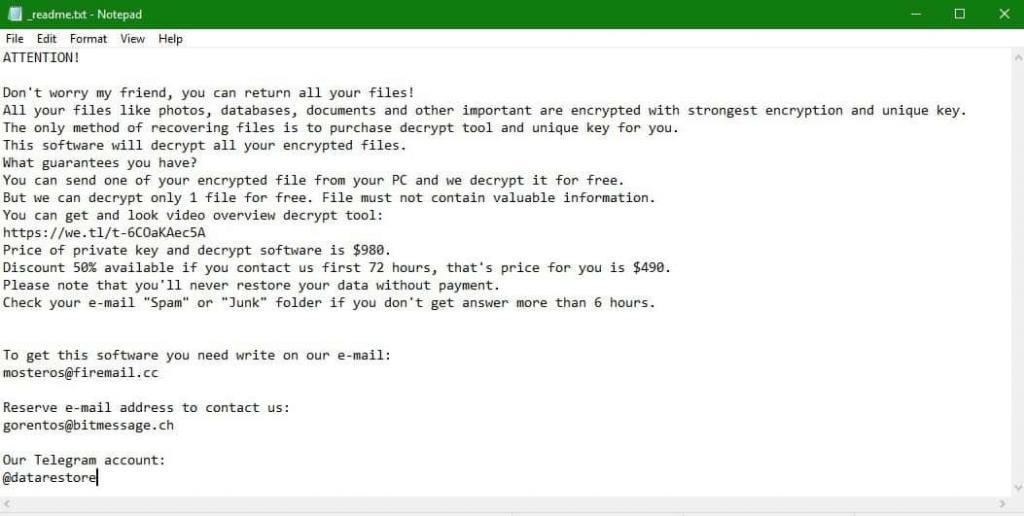 Ransom note of .Dotmap File Virus