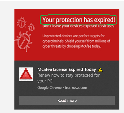 Protection Expired Pop up